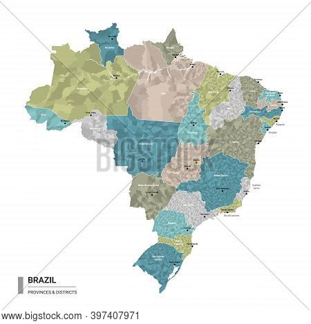 Brazil Higt Detailed Map With Subdivisions. Administrative Map Of Brazil With Districts And Cities N