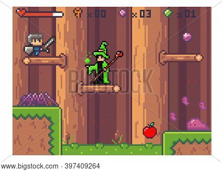 Pixel Computer Game Interface. Wizard In Mantle Is Waiting For Hero. Knight Goes Down The Platforms.