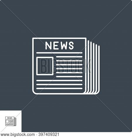 Newspaper Icon. Newspaper Thin Line Vector Icon. Icon Isolated On The Black Background. Editable Eps
