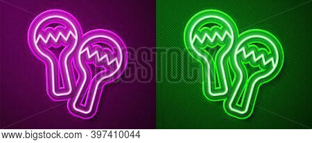 Glowing Neon Line Maracas Icon Isolated On Purple And Green Background. Music Maracas Instrument Mex