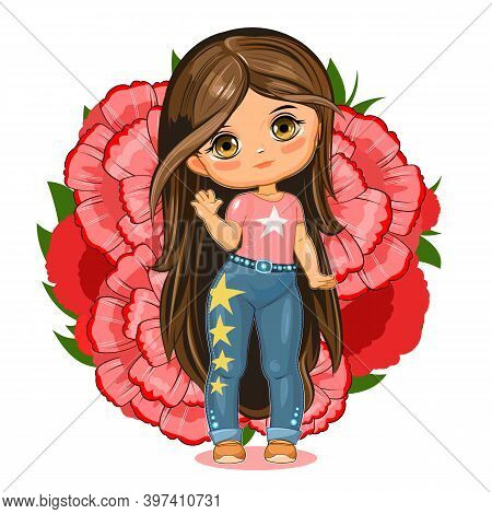 Cute Little Girl In Jeans With Stars. Cheerful Funny Child In A Good Mood. The Isolated Object On A