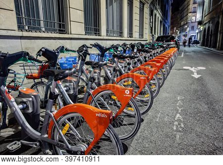 FRANCE, LYON- SEP 17, 2020: Rent bikes in a row on the street in Lyon, France