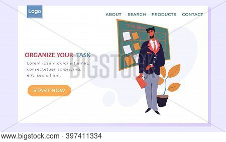 Organize Your Task Landing Page Template With A Man Standing Near Board With Paper Notes For Plannin