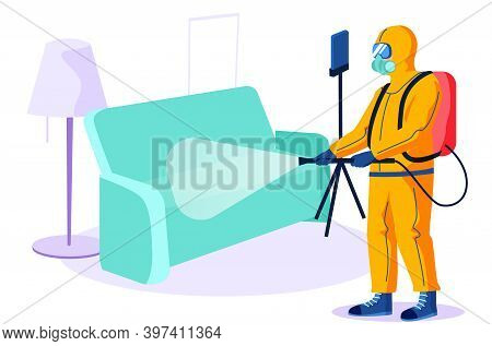 Disinfection Of Apartments. Cleaning Worker In A Chemical Protection Suit Treats The Surfaces Of The