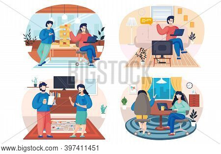 People At Home, Family Members Talking Together In The Room. Home Livingroom With Cozy Interior. Cha