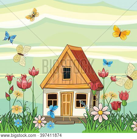 Old Village House. Fabulous Cartoon Object. Cute Childish Style. Ancient Dwelling. Tiny, Small. Agai