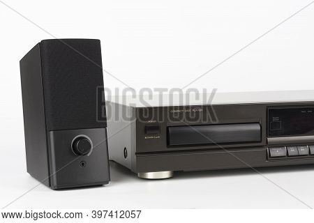 Cd Player Stereo Hi-fi And Stereo Speaker.  High-end Audio Equipment On White Background.