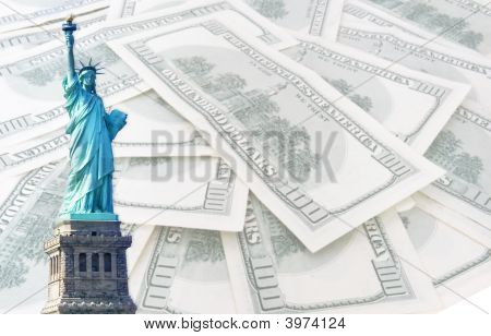 Statue Of Liberty On 100 Us Dollars Banknotes Background