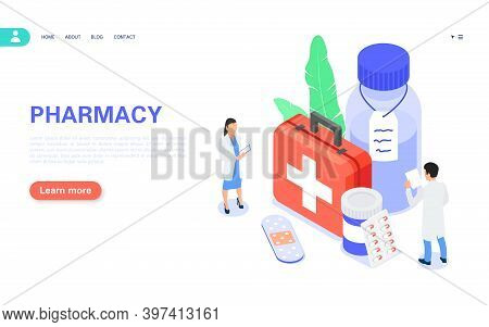 Pharmacy Concept Banner. Buying Medicines Online. The Pharmacist Selects Suitable Medicines And Othe