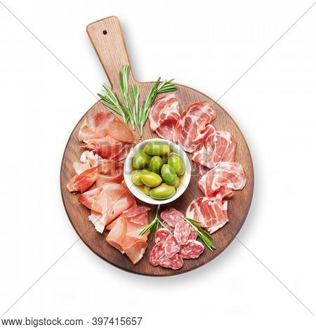 Traditional spanish jamon, prosciutto crudo, italian salami, parma ham and olives. Antipasto board. Top view flat lay. Isolated on white background