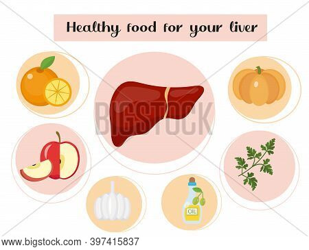 Healthy Food For Your Liver. Concept Of Food And Vitamins, Medicine, Prevention Of Liver Diseases. V