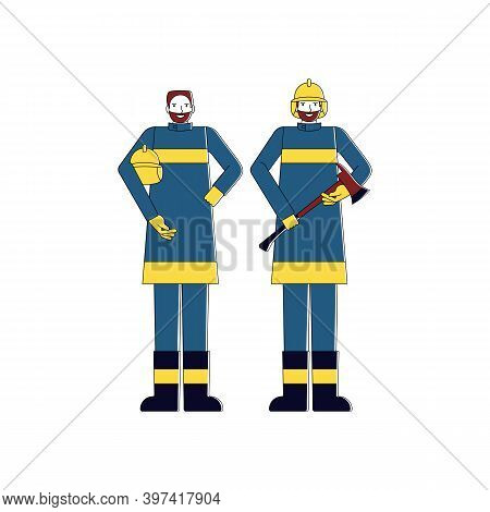 Cheerful Fireman With And Axe. Isolated On White Background. Flat Style Vector Illustration