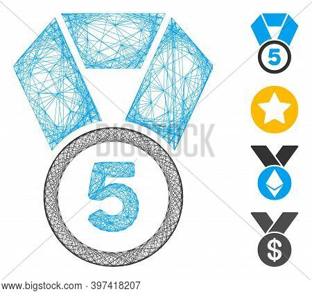 Vector Network 5th Place Medal. Geometric Linear Frame 2d Network Made From 5th Place Medal Icon, De