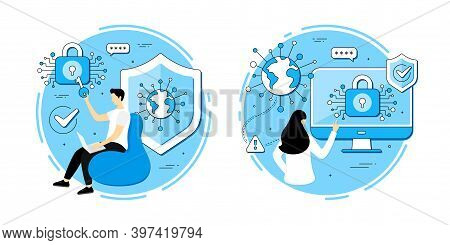 Private Data Access Vector Icons Set. Cyber Security Password, Login Lock, Public Key Access. Online