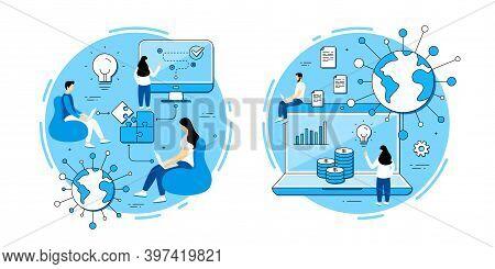 Online Ecommerce Vector Icons Set. Business Strategy, Problem Solving, Startup Teamwork. Online Docu
