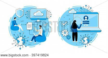 Document Sharing, Login Page Vector Icons Set. Social Network Access, Data Transfer, Online Teamwork