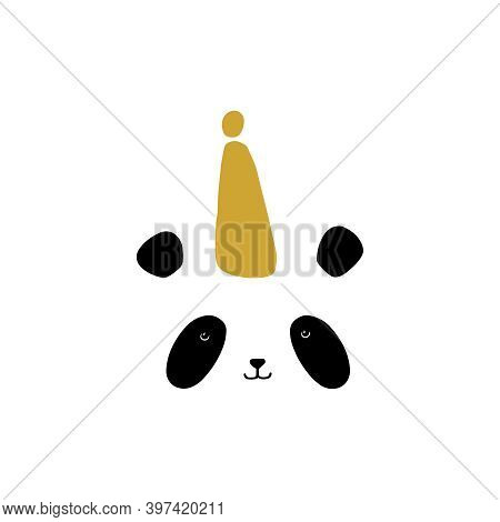 Christmas Card. Cute Panda In A Party Cap. Vector Isolated Illustration On White Background.