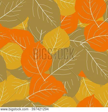 Orange, Gold, Light Brown Aspen Leaf Seamless Vector Pattern Background. Overlapping Scattered Hand
