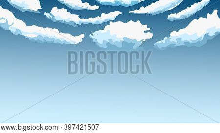 Abstract Blue Sky, Cartoon Clouds Are In Blue Sky. Vector Illustration