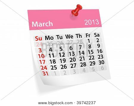 Monthly Calendar For New Year 2013. March