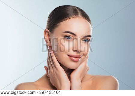Beauty Model Girl Face Portrait . Beautiful Woman Touching Face Enjoy Perfect Skin