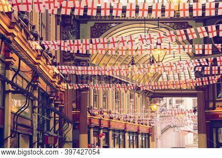 London, Uk - April 22, 2016: Saint George's Day Decorations In Leadenhall Market, London. Saint Geor