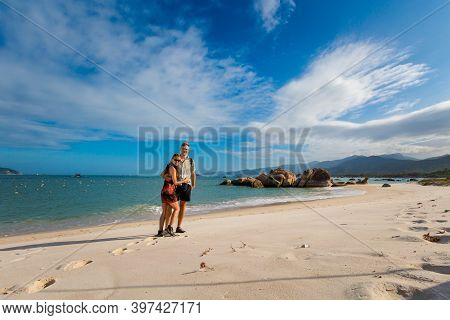 Beautiful Photo Of Happy Young Caucasian Couple In Cam Lap Promontory - Island In Cam Ranh, Vietnam.