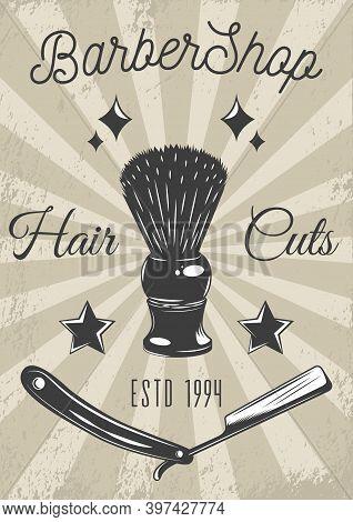 Logotype For Barbershop In Vintage Style. Barber Shop Logo Flat Vector Design Emblem With Barber Obj
