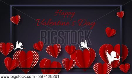 Happy Valentines Day card with hearts, cupids and place for your text vector illustration. Valentines day background. Valentine, valentine day, Valentines Day background, Valentine. Illustration of love background for happy valentines day card with hearts