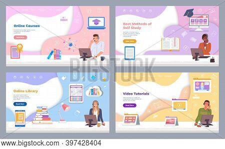 Landing Page Of Websites. Online Courses. Best Methods Of Self Study. Online Library. Video Tutorial
