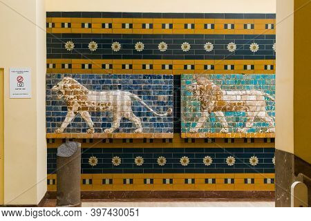 Istambul, Turkey - September 13, 2017: These Are Fragments Of The Gate Ishtar From Babylon With The