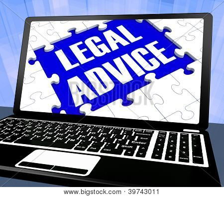 Legal Advice On Laptop Showing Legal Assistance