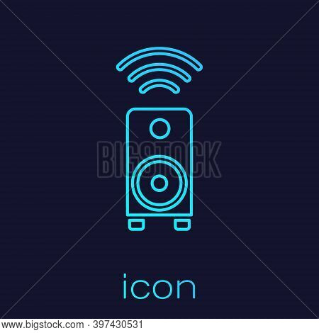 Turquoise Line Smart Stereo Speaker System Icon Isolated On Blue Background. Sound System Speakers.
