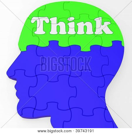 Think Brain Profile Shows Concept Of Ideas