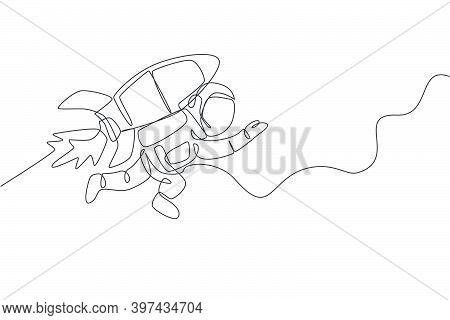 One Continuous Line Drawing Spaceman Astronaut Science Discovering Cosmos Galactic With Rocket Jetpa