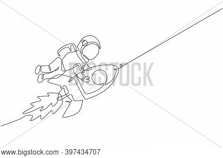 One Continuous Line Drawing Spaceman Astronaut Science Discovering Cosmos Galactic While Holding Roc