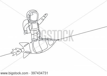 Single Continuous Line Drawing Of Astronaut In Spacesuit Flying At Outer Space While Standing On Roc