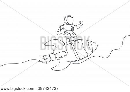 One Single Line Drawing Of Astronaut In Spacesuit Flying And Discovering Deep Space While Standing O