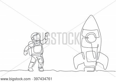 Single Continuous Line Drawing Of Astronaut In Spacesuit Waving Hand And Saying Good Bye To The Rock