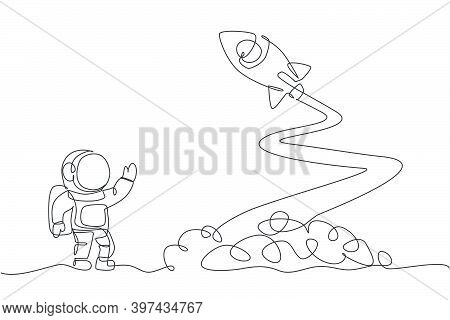 One Continuous Line Drawing Of Spaceman Astronaut Science On Moon Waving Hand To Launching Rocket. C