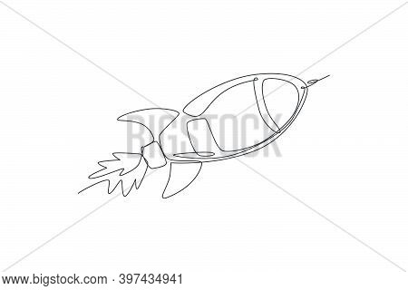 One Continuous Line Drawing Of Simple Retro Spacecraft Flying Up To The Outer Space Nebula. Rocket S