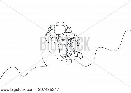 Single Continuous Line Drawing Of Spaceman Flying Relax While Eating Popsicle Ice Cream In Nebula Ga
