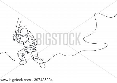 One Continuous Line Drawing Of Astronaut Playing Baseball In Deep Space Galaxy. Spaceman Healthy Fit