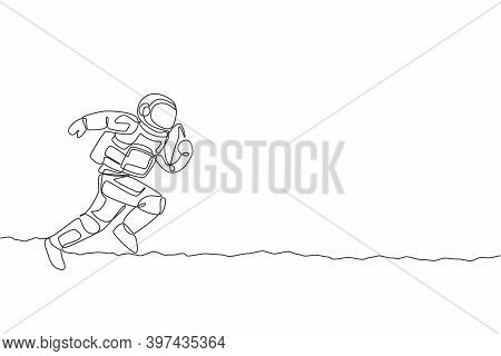 One Continuous Line Drawing Of Astronaut Practicing American Football In Deep Space Galaxy. Spaceman