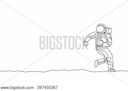 One Single Line Drawing Spaceman Astronaut Practices American Football In Cosmic Galaxy Vector Illus