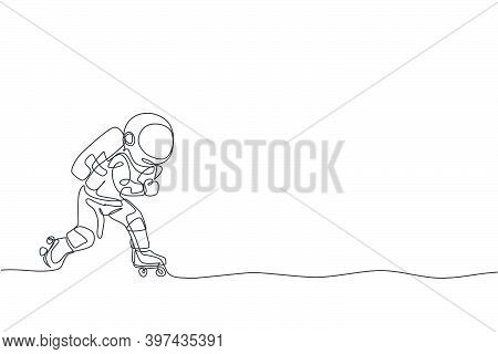 One Continuous Line Drawing Of Astronaut Using Roller Skates On Moon Surface, Deep Space Galaxy. Spa