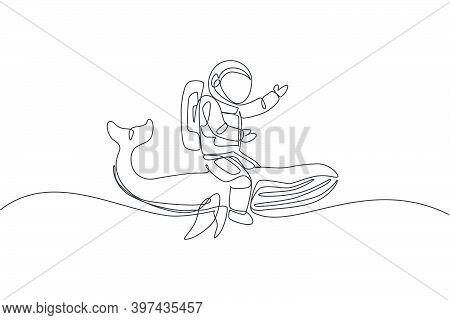 One Continuous Line Drawing Of Spaceman Take A Walk Riding A Blue Whale, Giant Mammal Animal In Gala