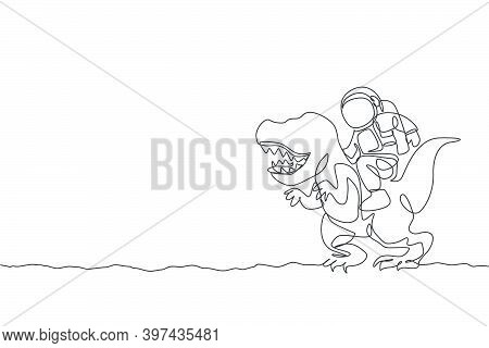 Single Continuous Line Drawing Of Cosmonaut With Spacesuit Riding T-rex, Wild Animal In Moon Surface