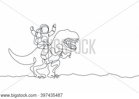 Single Continuous Line Drawing Of Cosmonaut With Spacesuit Riding Tyrannosaurus, Wild Animal In Moon