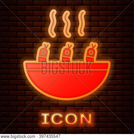 Glowing Neon Soup With Shrimps Icon Isolated On Brick Wall Background. Tom Yum Kung Soup. Vector.